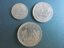 1 RUPEES,50 NAYA PAISE AND 25 NAYA PAISE  OF 1962 - KOLKATA MINT SET OF 3 COINS