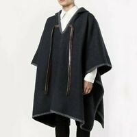 Mens Wool Blend Hooded Cloak Cape Poncho Pullover Shawl Coat Top Boho Gypsy Chic