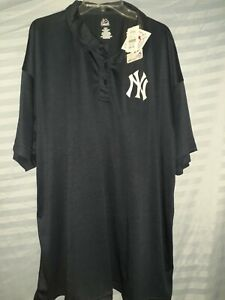 NWT Majestic Dri Fit MLB NEW YORK YANKEES BLUE COLLARED POLO/Golf Mens Size 4XL