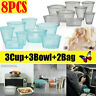 8X/Set Silicone Food Storage Bags Zip Leakproof Containers Plastic-Free Reusable