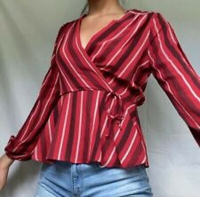 Monteau Womens Top Size Medium Red White Stripe with V-Neck and Peplum