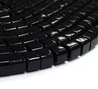 30 Onyx Schwarz Perlen Poliert Halbedelstein 10mm Würfel Schmucksteine BEST G91