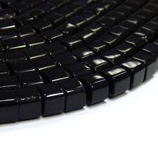 40 Würfel Onyx Schwarz 8mm Poliert Perlen Halbedelstein Schmucksteine BEST G781
