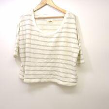 New American Eagle Aerie Womens Cream Striped Slub Terry Oversized Sweater Sz M