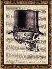 Art Print Vintage Antique Book Page Wall Art - Anatomy Skull Top Hat