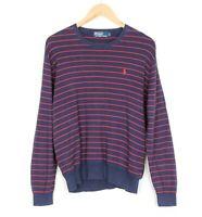 POLO by RALPH LAUREN Crew Neck Striped Blue Cotton Jumper Sweater Men Size L