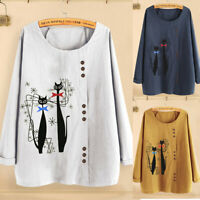 Women's Casual Plus Size Shirt O-Neck Print Loose Button Long Sleeve Blouse Tops