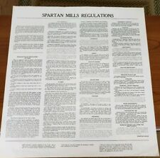 Vintage Spartan Mills Employee Regulations Textile Mill Document Spartanburg S.C