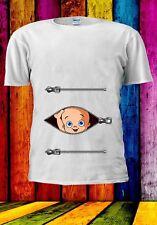 Sbirciare Baby in gravidanza Maternità Divertente Gravidanza Zip Uomini Donne Unisex T-shirt 812