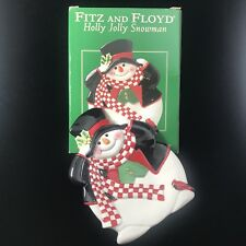 Fitz and Floyd Holly Jolly Snowman Canape' Plate Christmas Holiday Party
