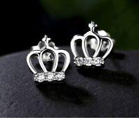 *UK Shop* 925 SILVER PLT ROYAL CROWN CRYSTAL STUD EARRINGS PRINCESS TIARA KING