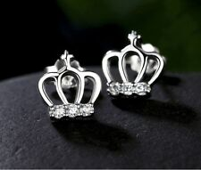925 Silver Plt Royal Crown Crystal Stud Earrings Princess Tiara King Diva a