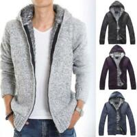 Mens Fur Lined Hoodie Cardigan Sweater Casual Knitted Jackets Hooded Winter Coat