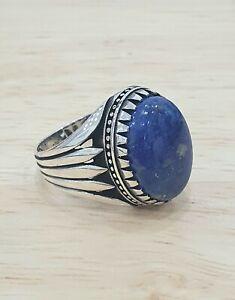 925 Sterling Silver  Lapiz Lazuli Stone Handmade Authentic Turkish Men Ring