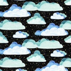 Space Clouds Fabric, BTY, Hula Universe,  DC9312-BLAC-D,  TheFabricEdge