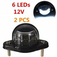 2x 6LEDs Rear Tail Number Plate License Light For Van Car Truck Lorry Trailer