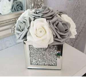 Silver Crush Diamond Vase Square Mirrored Finish Italian Wid Roses Hat Box 10x10