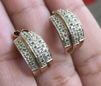 Vintage Antique 9ct Yellow Gold Diamond Earrings 0.50 Cluster Studs