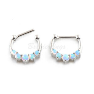 """1pc 16G 5/16"""" (8mm) Plated Brass 5 OPAL Septum Clicker Hinged Segment Nose Ring"""