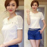 Women's Lace Short Sleeve Shirt V Neck Doll Chiffon Blouse Summer Fashion Tops