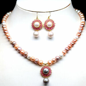 NATURAL FANCY CLR PEARL & PINK RUBY NECKLACE WITH EARRINGS 925 SILVER