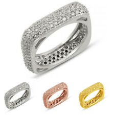 925 Sterling Silver Turkish Handmade 3 Row Square Eternity Ring