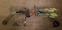"""PSE Fire Flight 33 Compound Bow 70# 28"""" RH with sight rest quiver and arrows"""