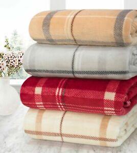 VELOSSO LUXURY CHECK Throw Blanket Sofa Throw / Bed Throw / 130 x 180 cm