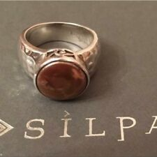SILPADA R1634 BRONZE COIN PEARL RING SIZE 6 .925 HAMMERED STERLING SILVER Cute