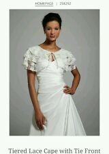 David's Bridal Tiered Lace Cape w/ Tied Front, N/S, 258292, IVORY ($79)