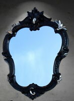 Espejo de Pared Barroco OVALADO NEGRO-PLATA ANTIGUO ESPEJO NUEVO 50x35 444ss