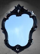 Miroir mural baroque ovale NOIR-ARGENT ancien miroir NEUF 50x35 444ss