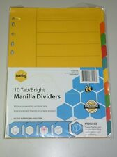 Marbig 10 Tab Bright Manilla Dividers 37200 A4  file dividers indices document