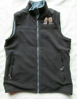 Womens Yorkie Yorkshire Terrier Fleece Vest Reversible Black / Blue Sz S  EUC