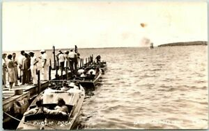 "LAKE OKOBOJI, Iowa RPPC Real Photo Postcard ""PUBLIC DOCK"" Boats c1940s Unused"