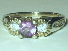 White Gold (Rh) Plated Natural Amethyst CZS Sterling Silver Wedding Ring Sz 6.25