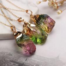 EG_Rainbow Coloration pierre naturelle collier breloque Pendentif Unisexe