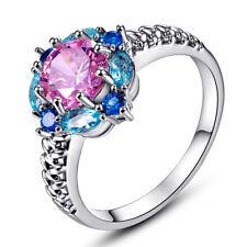 Pink & Blue Topaz & Sapphire & Garnet Gemstone 14K White Gold Filled Ring Gifts