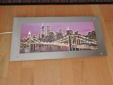 New York City Skyline Brooklyn Bridge TwinTowers Pre-9/11 Mirror LIGHTED Art