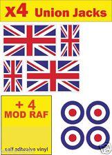 4 Union Jack + 4 MOD RAF decals england GB car van bus Sticker bike dub Scooter