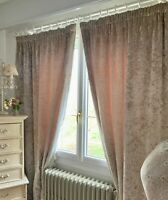 LAURA ASHLEY CURTAINS contemporary chic CRUSHED VELVET heavy BLANKET INTERLINED