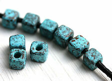 6mm Cube Green Patina Square Ceramic Beads Patinated findings 15pc 0014