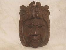 unique ornate carved wood face mask wooden head w/ birds carving *slight damage