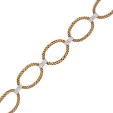 18k Rose Gold 1.20ctw Diamond Basket Weave Oval Link Bracelet