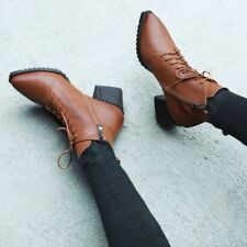 Leather Vamp Rubber Sole Mid Block Heel Pointed Toe Women's Ankle Boots Evening