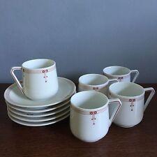 JZ&Co 1910-17 Bavarian Porcelain Cups & Saucers Set Of 5 Arts And Crafts Mission