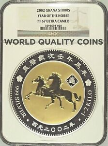 2002 Ghana 1/2 kilo Silver Gold plated 1000 Sika Year of the Horse NGC PF67