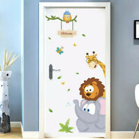 Jungle Cute Animals Door Wall Stickers Kids Nursery Room Art Classroom Decors 3d