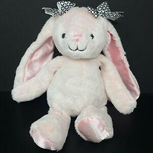 Lambs & Ivy Pink Bunny Rabbit Plush Gigi Long Satin Ears Black White Bows Lovey