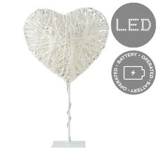 Modern Battery Operated Paper Twine LED Heart Fairy Light Decorative Metal Stand
